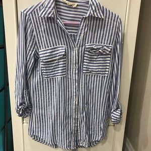 Blue and White Stripes Button Down Shirt Size S